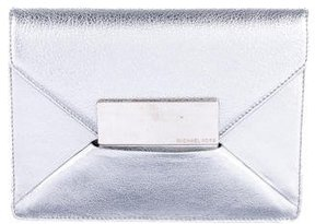 Michael Kors Metallic Leather Flap Clutch - METALLIC - STYLE
