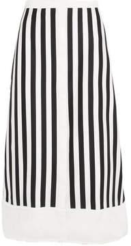 Bardot La Ligne Twill-trimmed Striped Cotton-blend Midi Skirt - White