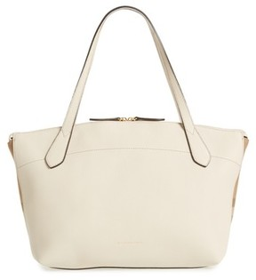 Burberry Welburn House Check & Leather Tote - Ivory - IVORY - STYLE