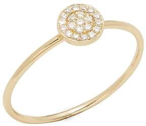Ef Collection Women's 14K Yellow Gold & Diamond Disc Ring