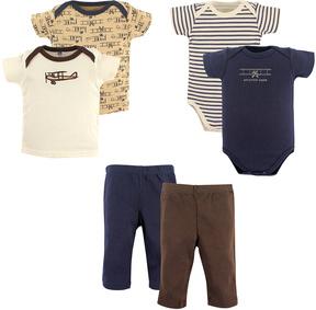 Hudson Baby Brown & Navy Airplane Six-Piece Bodysuit Set - Infant