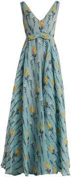 Luisa Beccaria Floral-embossed silk-blend gown