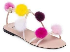 Fendi Mink Fur Pom Pom Sandals