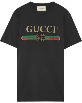 Gucci - Appliquéd Distressed Printed Cotton-jersey T-shirt - Black