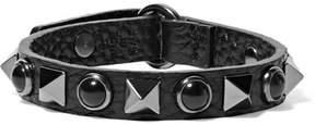 Valentino Embellished Textured-leather Bracelet - Black