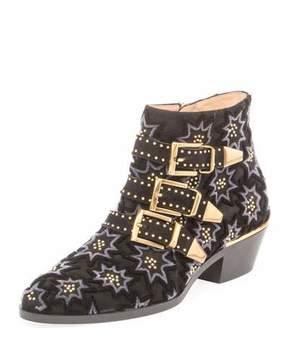 Chloé Suzanna Studded Velvet Buckle Bootie, Black