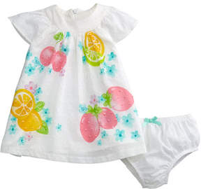Mayoral Fruit-Print Swiss Dot Bishop Dress w/ Bloomers, Size 2-12 Months