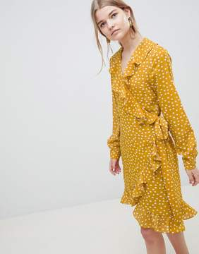 Selected Chanie Ruffle Polka Dot Wrap Dress