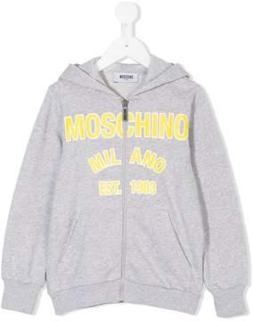 Moschino Kids logo print zipped hoodie