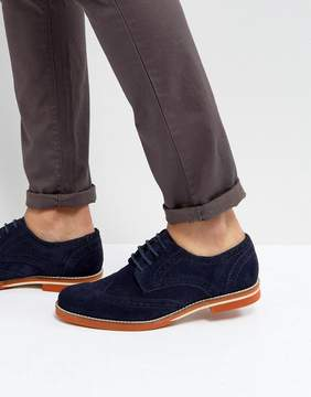Dune Brogues In Navy Suede