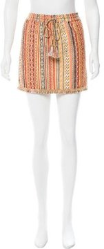 Calypso Fringe-Trimmed Mini Skirt