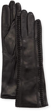 Neiman Marcus Metisse Leather Long Whipstitch Gloves