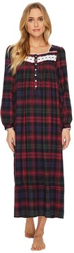 Eileen West Plaid Flannel Ballet Long Sleeve Nightgown Women's Pajama