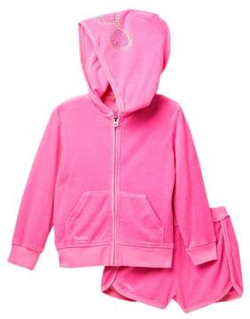 Butter Shoes Super Soft Mineral Wash Hoodie & Shorts Set (Toddler Girls)