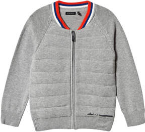 Ikks Grey Knit and Jersey Bomber Cardigan