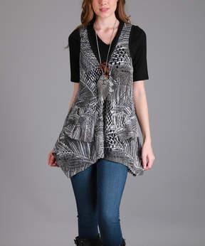 Lily Gray Beige Handkerchief Vest - Women