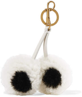 Anya Hindmarch Leather-trimmed Shearling Keychain - White