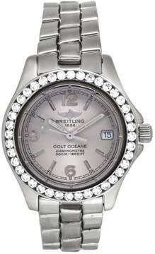 Breitling Colt Ocean A77350 Stainless Steel Quartz 1.92 Ct Diamond Bezel 36mm Watch