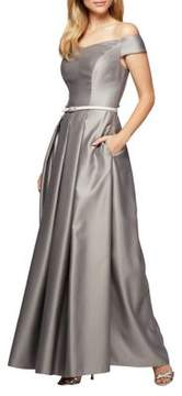 Alex Evenings Pleated A-Line Ballgown