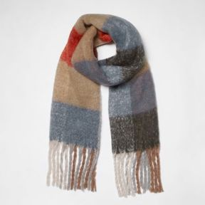 River Island Womens Beige color block check blanket scarf