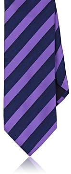 Barneys New York MEN'S SATIN AND CHAMBRAY STRIPED NECKTIE