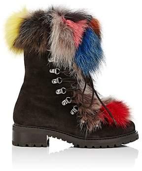 Barneys New York Women's Fur-Trimmed Nubuck Ankle Boots