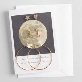 World Market Star and Moon Earrings Gift Set with Greeting Card
