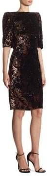 Talbot Runhof Sequin Velvet Sheath Gown
