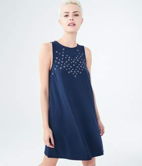 Aeropostale Solid High-Neck Grommet Swing Dress