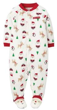 Carter's Infant Boy White Fleece Santas Favorite Christmas Pajama Sleeper NB