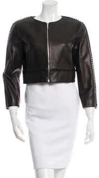 Prabal Gurung Cropped Leather Jacket