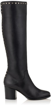 Jimmy Choo MONROE 65 Black Smooth Leather Knee High Boots with Studs Trim