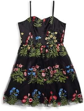 Un Deux Trois Girl's Floral and Mesh Dress
