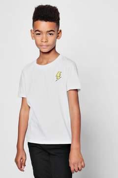 boohoo Boys Lightening Bolt Embroidered T-Shirt