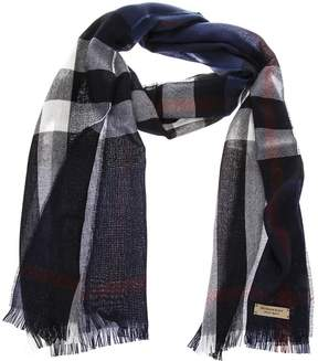 Burberry Blue Wool Fringed Scarf