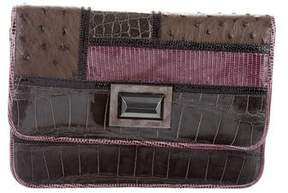 Kara Ross Crocodile-Trimmed Patchwork Clutch