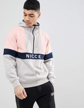 Nicce London retro hoodie in gray with half zip