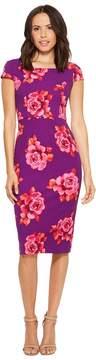 Donna Morgan Cap Sleeve Fitted Printed Crepe Sheath Dress Women's Dress