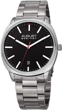 August Steiner Mens Silver Tone Strap Watch-As-8237ssb