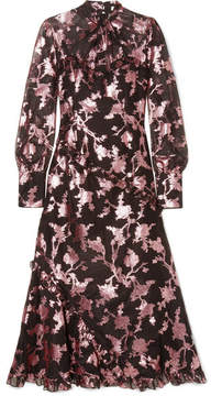 Erdem Faylinn Ruffled Fil Coupé Cotton-blend Organza Midi Dress - Pink