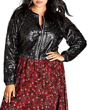 City Chic Cropped Faux Leather Bomber Jacket