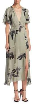 Halston Printed Silk Midi Dress