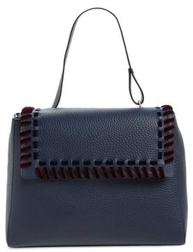 Orciani Large Sveva Velvet Trim Calfskin Leather Satchel - Blue