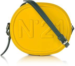 N°21 Yellow Leather Oval Crossbody Bag w/Embossed Logo