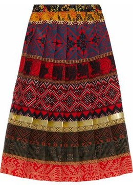 Stella Jean Pleated Printed Crepe Midi Skirt