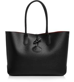 Longchamp Roseau Leather Tote - BLACK/SILVER - STYLE