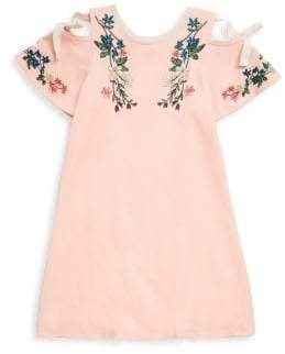 Hannah Banana Girl's Embroidered Floral Cold-Shoulder Top