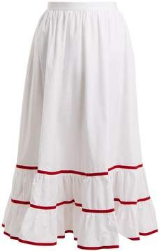 Stella Jean Contrast-trim cotton-poplin skirt