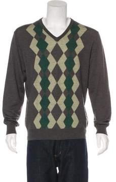 Neiman Marcus Wool-Blend Argyle Sweater
