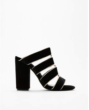 Express velvet strappy heeled slides